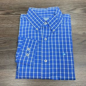 Southern Tide Blue, White & Green Plaid Shirt L